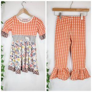 Jelly The Pug Ruffle Dress and Pants Set Size 8